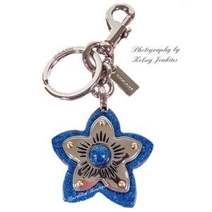 COACH Glitter Wildflower Bag Charm Keychain